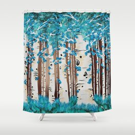Turquoise Forest Shower Curtain