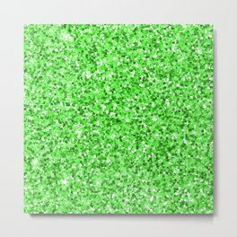 Abstract modern neon green glitter Metal Print