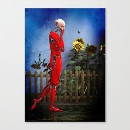 Red Robot visits the Sunflower Garden Canvas Print
