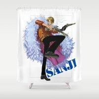 luffy Shower Curtains featuring Sanji Blackleg by Borsalino