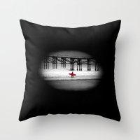 surfboard Throw Pillows featuring Red Surfboard by Derek Fleener