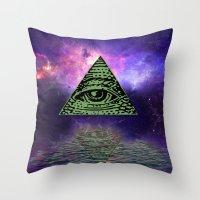 illuminati Throw Pillows featuring Illuminati by gypsykissphotography