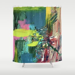 Excited: a vibrant, colorful, dynamic acrylic piece in various colors Shower Curtain