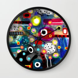 Abstract Grungy Distressed Art Dark Polka Dots Wall Clock