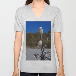 Dangling from Driftwood- vertical Unisex V-Neck
