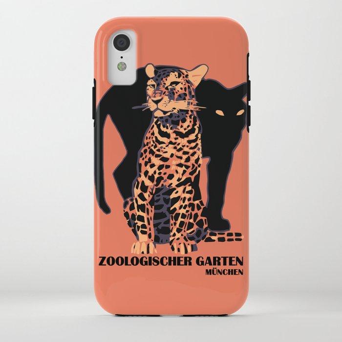 Retro vintage Munich Zoo big cats iPhone Case
