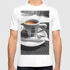 Coffee - espresso White Mens Fitted Tee MEDIUM