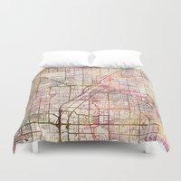 las vegas Duvet Covers featuring Las Vegas by MapMapMaps.Watercolors
