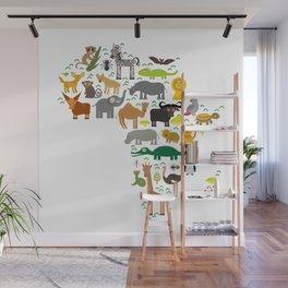 map of Africa: parrot Hyena Rhinoceros Zebra Hippopotamus Crocodile Turtle Elephant Mamba snake Wall Mural