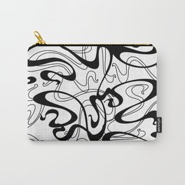 Black Abstract Ribbon Graffiti Style Swirls Carry-All Pouch