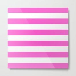 Pink Horizontal Stripes Metal Print