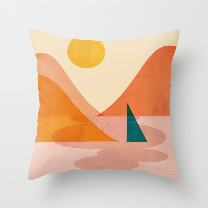 Abstraction_Lake_Sunset Throw Pillow
