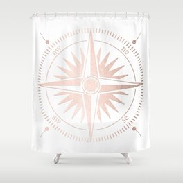 Rose Gold on White Compass Shower Curtain