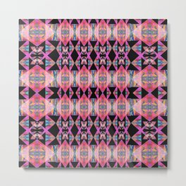 Diamond Geometric Power Pattern in Broad Spectrum Pink Metal Print