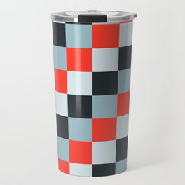 Stainless steel knife - Pixel patten in light gray , light blue and red Travel Mug