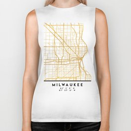 MILWAUKEE WISCONSIN CITY STREET MAP ART Biker Tank