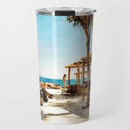 Watercolor Painting of Mykonos Beach Travel Mug