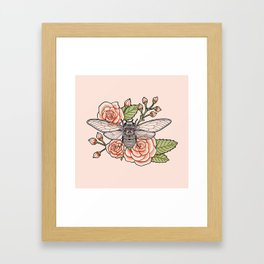Cicada with Roses - Pink Framed Art Print