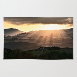 Sunset in Val d'Orcia, Tuscany Italy Rug