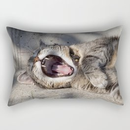 CAT - YAWNING - PHOTOGRAPHY - ANIMALS - CATS Rectangular Pillow