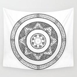 Flower Star Mandala - White Black Wall Tapestry