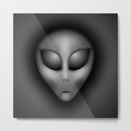 Grey Alien Portrait Metal Print