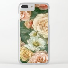 Floral rose pattern Clear iPhone Case