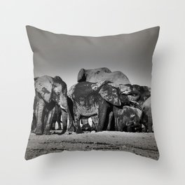 Elephant Herd Circling II Throw Pillow