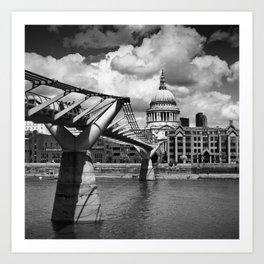 LONDON Millennium Bridge and St Paul's Cathedral | Monochrome Art Print