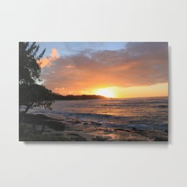 North Shore of Oahu.  Best surfing in the world.  Metal Print