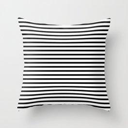 Black And White Stripes Breton Nautical Minimalist Throw Pillow