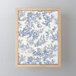 Blue French Toile Framed Mini Art Print