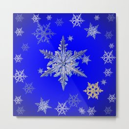 """MORE BLUE SNOW"" BLUE WINTER ART DESIGN Metal Print"