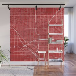 Fresno Map, USA - Red Wall Mural