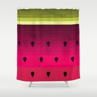 watermelon Shower Curtains featuring Watermelon by Kakel