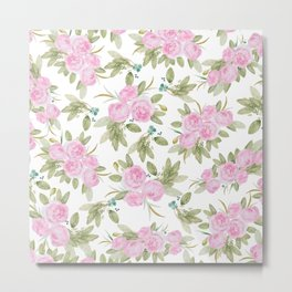 Elegant pink green watercolor roses pattern Metal Print