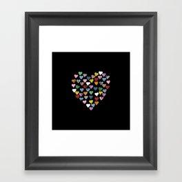 Distressed Hearts Heart Black Framed Art Print