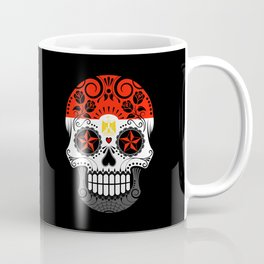 Sugar Skull with Roses and Flag of Egypt Coffee Mug