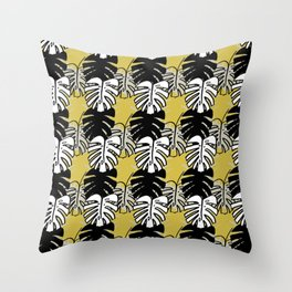 Monstera Print Throw Pillow