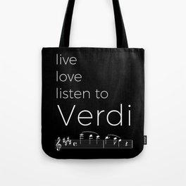 Live, love, listen to Verdi (dark colors) Tote Bag