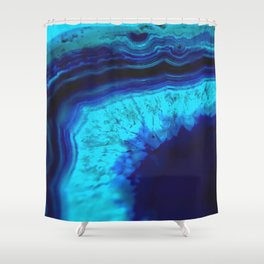 Royal Blue Turquoise Agate Shower Curtain