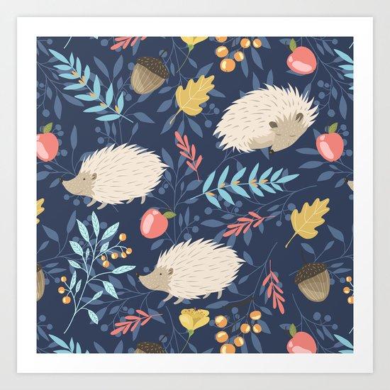 White hedgehogs Art Print