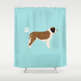 saint bernard funny farting dog breed pure breed pet gifts Shower Curtain