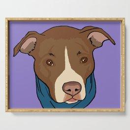 Pit Bull wearing Bandana Purple Serving Tray