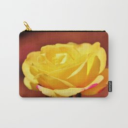 Bright Yellow Rose With Pink Carry-All Pouch