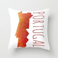 portugal Throw Pillows featuring Portugal by Stephanie Wittenburg