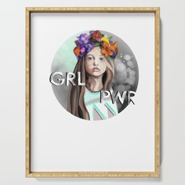 Grl pwr girl with flowers Serving Tray