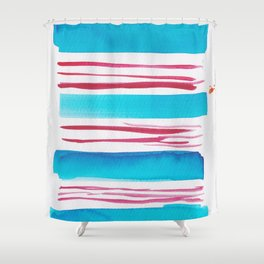 11  |181026 Lines & Color Block | Watercolor Abstract | Modern Watercolor Art Shower Curtain