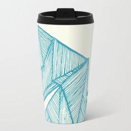 Tiny polar bear on iceberg in teal on gold geometric pattern Travel Mug