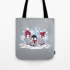 Snow Penguins Tote Bag